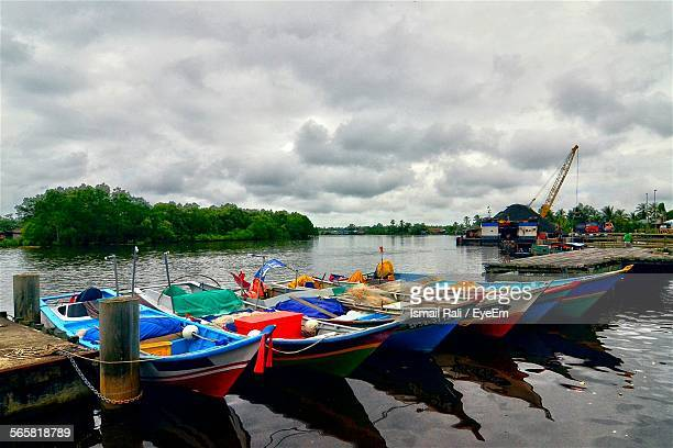 Rowboats Moored On Jetty