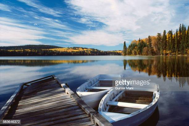 Rowboats tied to Dock in Lake