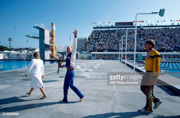 Rowdy Gaines Mark Stockwell Rowdy Gaines Men's swimming 100 metre freestyle medal ceremony McDonald's Olympic Swim Stadium at the 1984 Summer...