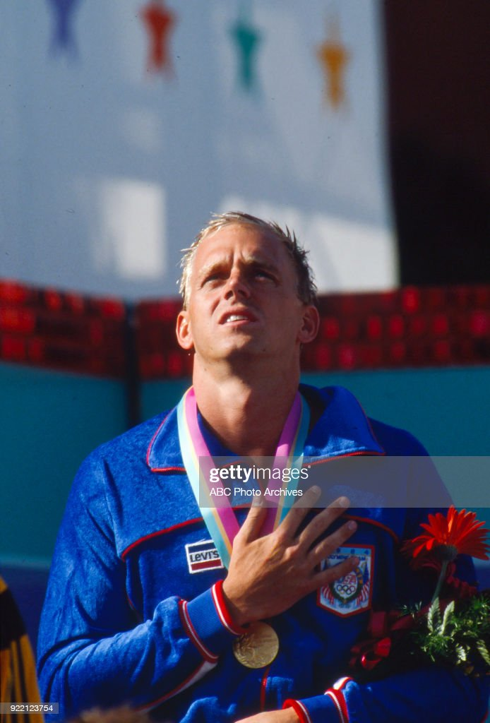 Men's Swimming 100 Metre Freestyle Medal Ceremony At The 1984 Summer Olympics : News Photo