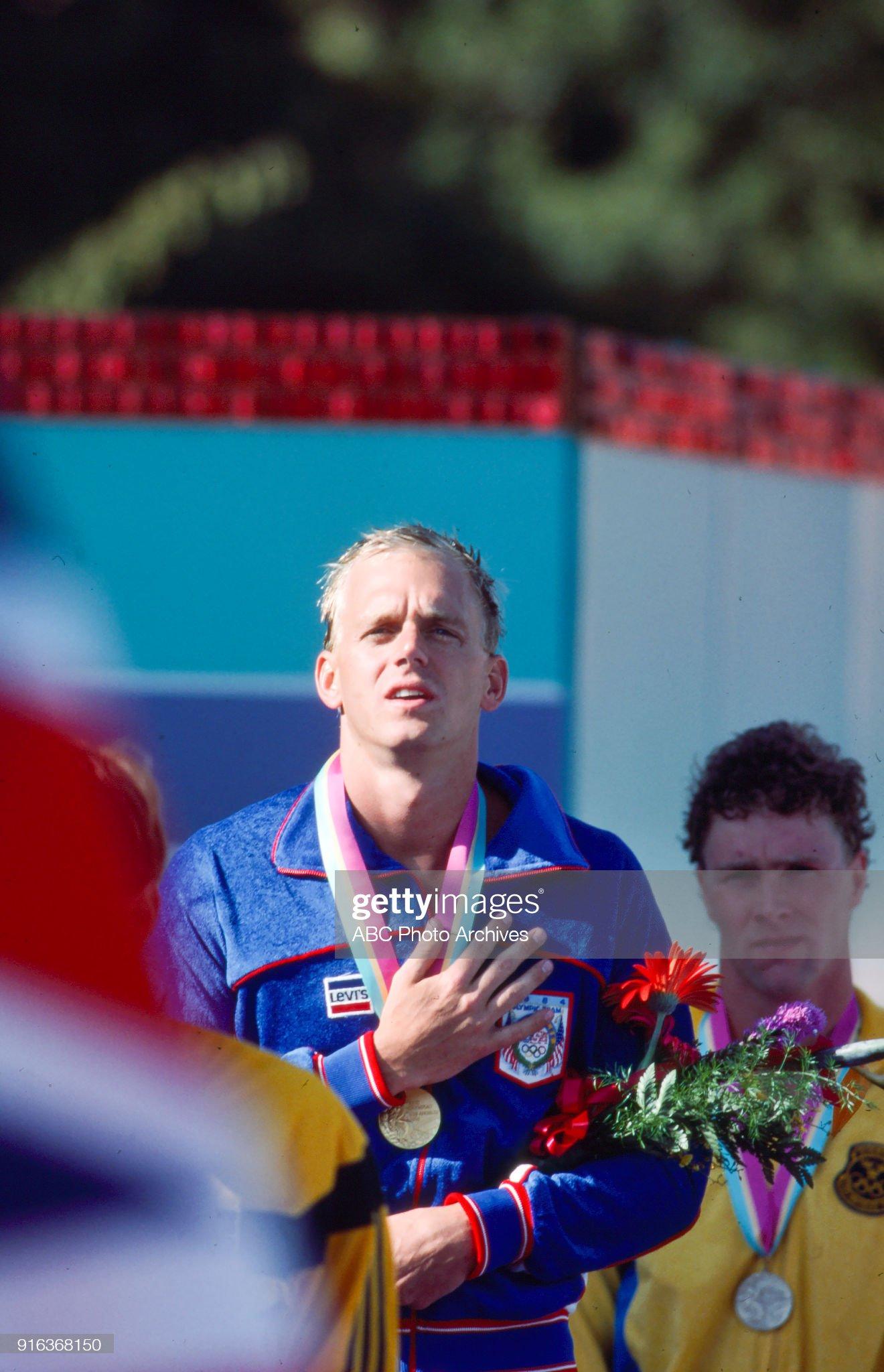 Men's Swimming 100 Metre Freestyle Medal Ceremony At The 1984 Summer Olympics : Fotografía de noticias