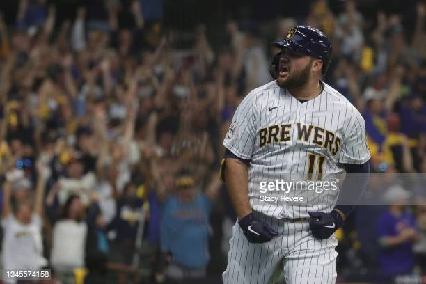Rowdy Tellez of the Milwaukee Brewers celebrates hitting a two run home in the seventh inning during game 1 of the National League Division Series...