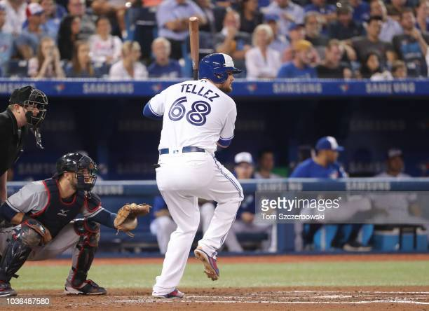 Rowdy Tellez of the Toronto Blue Jays bats in the fourth inning during MLB game action against the Cleveland Indians at Rogers Centre on September 6...