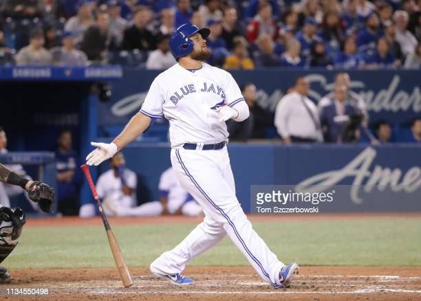 Rowdy Tellez of the Toronto Blue Jays hits a solo home run in the ninth inning during MLB game action against the Baltimore Orioles at Rogers Centre...