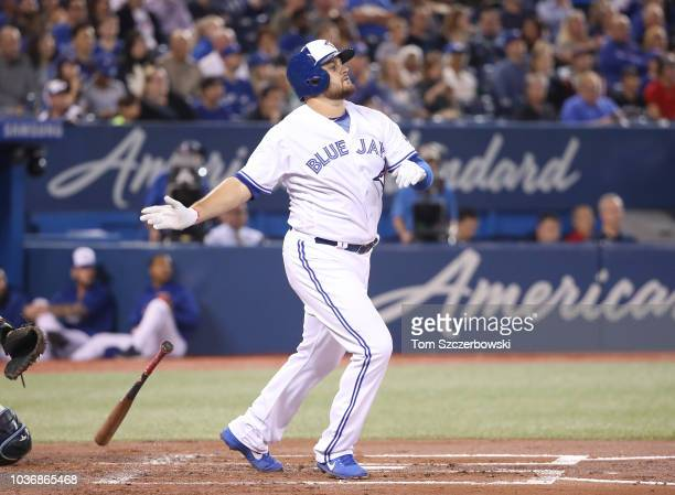 Rowdy Tellez of the Toronto Blue Jays hits a tworun home run in the second inning during MLB game action against the Tampa Bay Rays at Rogers Centre...