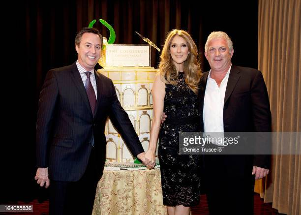 HC Rowe Celine Dion and John Meglen celebrate the 10th anniversary of The Colosseum at Caesars Palace and Celine Dion's 847th performance at the...
