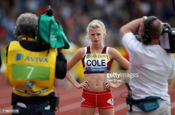 Rowena Cole is filmed by television cameras before the On Camp Woth Kelly 800 metres race during the Aviva Grand Prix at Alexander Stadium on July 10...