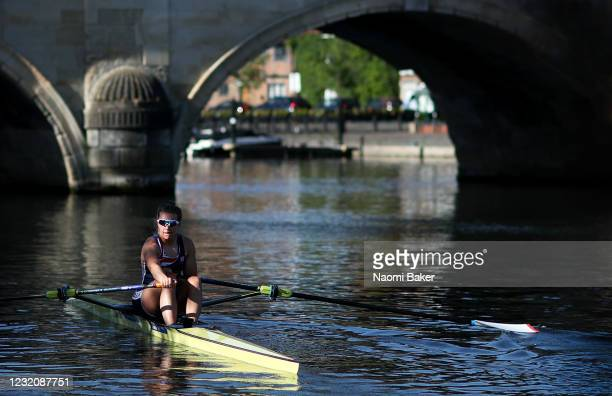 Rower Alice Baatz trains in a single scull rowing boat on the River Thames in Henley using her own sculling boat which is kept at Leander Rowing Club...