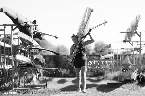 GB Rower Alice Baatz trains in a single scull rowing boat on the River Thames in Henley using her own sculling boat which is kept at Leander Rowing...