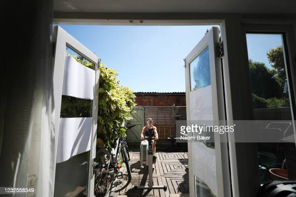 Rower Beccy Girling of the Team Great Britain Rowing Team trains at her home in Molesey as lockdown continues and athletes continue their training...