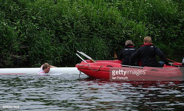 A rower capsizes during his race at the 183rd annual regatta on the River Wear on June 11 2016 in Durham England The present regatta dates back to...