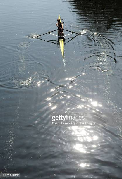 A rower enjoys the spring sunshine on the River Wear in Durham as the warm weather continues across the UK