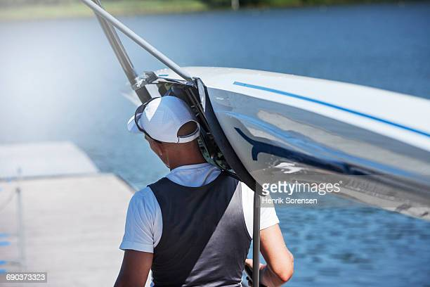 A rower going to practice