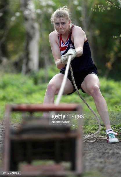Rower Holly Hill of the Great Britain Rowing Team trains in a forest near her house by doing a homemade circuits session as she trains in Isolation...