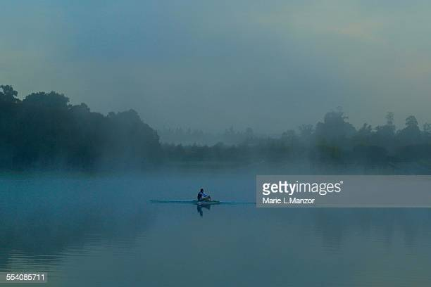 Rower in the fog