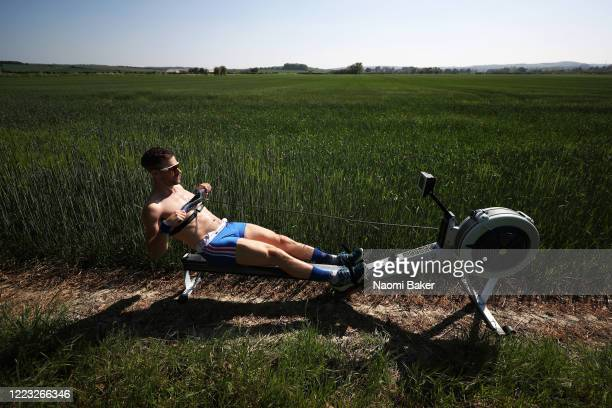 Rower Jamie Copus of the Great Britain Rowing Team trains in Isolation from his home in Oxford on May 06 2020 in Oxford England The coronavirus and...