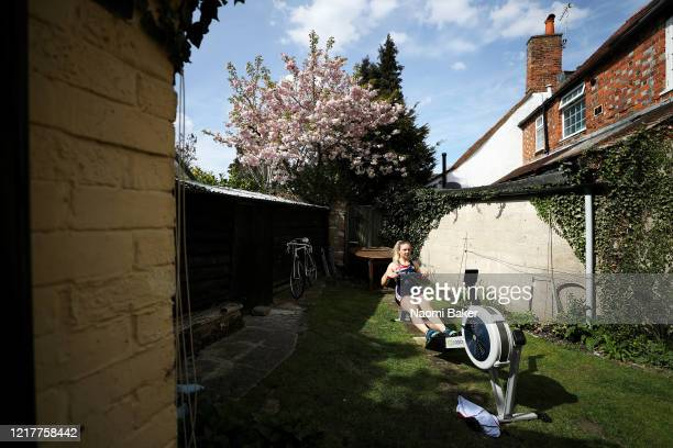 Rower Jess Leyden of the Great Britain Rowing Team trains at Home in Isolation on April 07 2020 in Wallingford England The coronavirus and the...