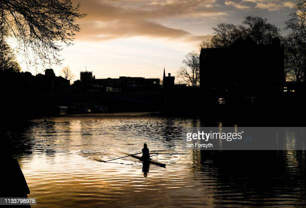 A rower makes her way down the River Ouse in the centre of York City on March 05 2019 in York England