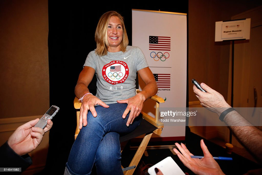 Rower Meghan Musnicki addresses the media at the USOC Olympic Media Summit at The Beverly Hilton Hotel on March 9, 2016 in Beverly Hills, California.