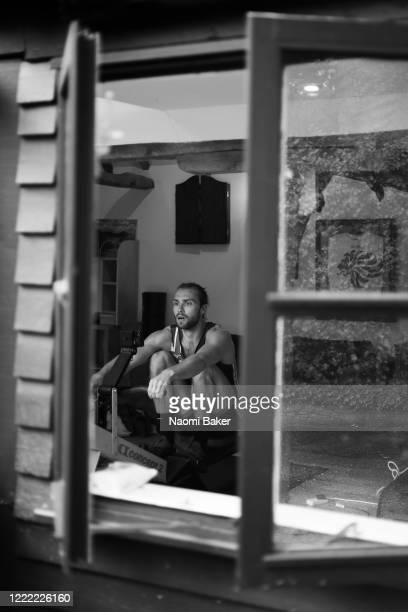 Rower Oliver WynneGriffith from the Great Britain Rowing Team trains in isolation at his home in Guildford on April 30 2020 in Guildford England The...