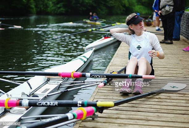 A rower sits waiting for her turn to compete during the 183rd annual regatta on the River Wear on June 11 2016 in Durham England The present regatta...