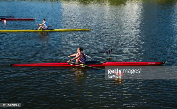 Rowers are allowed to sport again on the water as outside sport in Ghent - Belgium on 25 May 2020. Inside sport halls are not allowed. Belgium began...