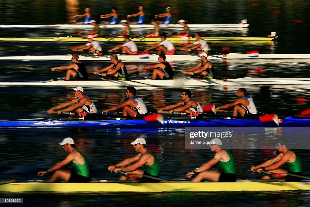 Rowers begin the Men's Fours at the Shunyi Olympic Rowing-Canoeing Park during Day 7 of the Beijing 2008 Olympic Games on August 15, 2008 in Beijing, China.