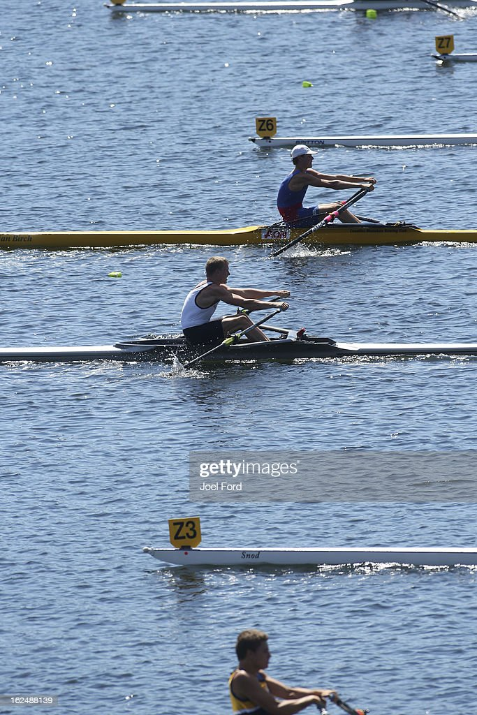 Rowers compete during the New Zealand Junior Rowing Regatta on February 24, 2013 in Auckland, New Zealand.