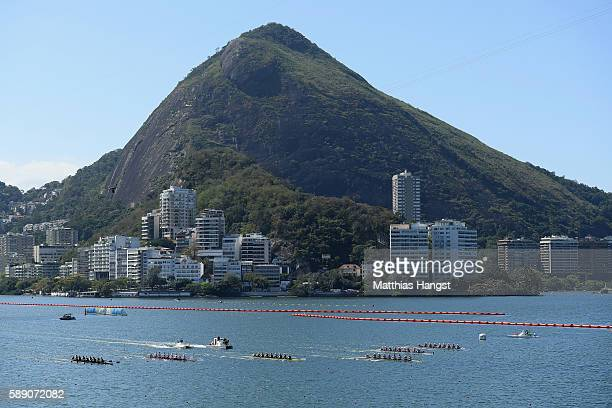 Rowers compete during the Women's Eight Final A on Day 8 of the Rio 2016 Olympic Games at the Lagoa Stadium on August 13 2016 in Rio de Janeiro Brazil