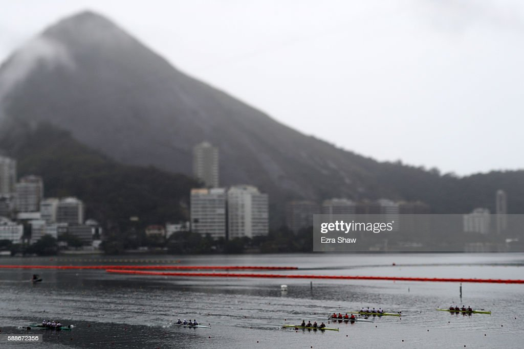 Rowers compete in the during the Men's Four Final B on Day 7 of the Rio 2016 Olympic Games at Lagoa Stadium on August 12, 2016 in Rio de Janeiro, Brazil.