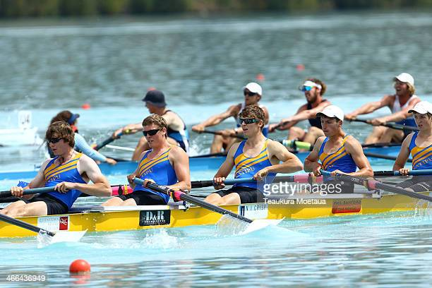 Rowers compete in the mens coxed eight final during the South Island Club Championships at Lake Ruataniwha on February 2 2014 in Twizel New Zealand