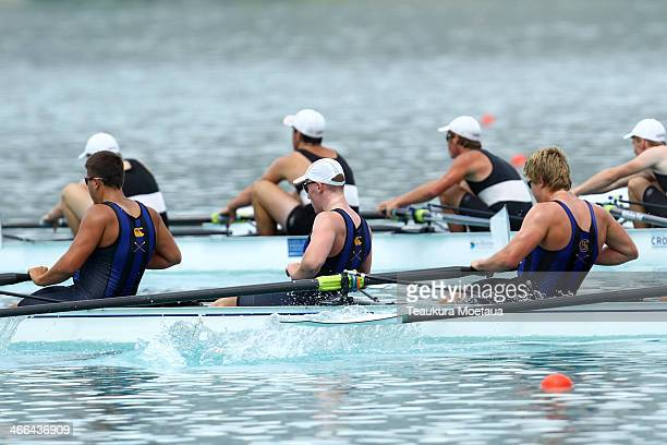 Rowers compete in the mens under19 coxed eight final during the South Island Club Championships at Lake Ruataniwha on February 2 2014 in Twizel New...