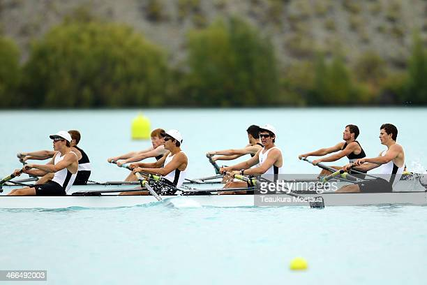 Rowers compete in the mens under19 coxed four final during the South Island Club Championships at Lake Ruataniwha on February 2 2014 in Twizel New...
