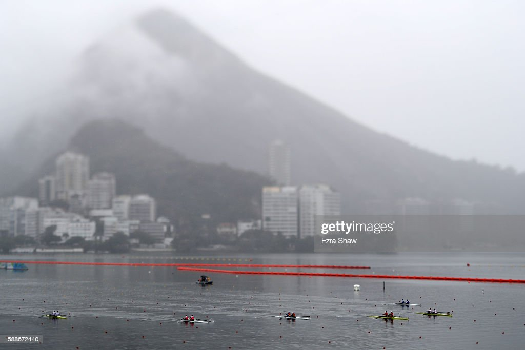Rowers compete in the Women's Pair Final B on Day 7 of the Rio 2016 Olympic Games at Lagoa Stadium on August 12, 2016 in Rio de Janeiro, Brazil.