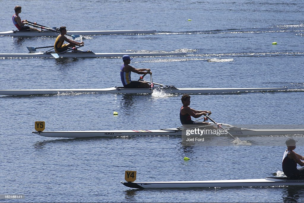 Rowers competes during the New Zealand Junior Rowing Regatta on February 24, 2013 in Auckland, New Zealand.