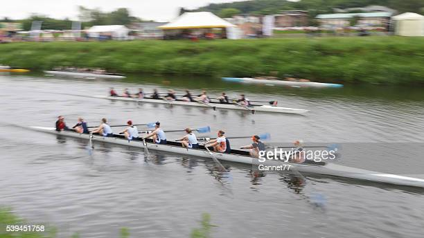 rowers competing during the durham regatta - rowing stock pictures, royalty-free photos & images