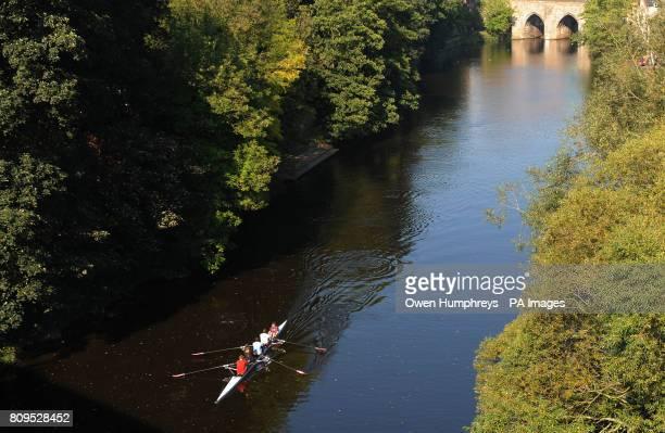 Rowers enjoy the unseasonably warm weather on the River Wear in Durham