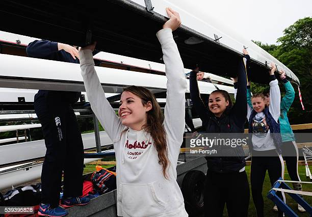 Rowers from across the country unload their boats as they take part in the 183rd annual regatta on the River Wear on June 11 2016 in Durham England...