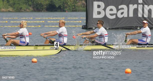 Rowers of British four Andrew Triggs Hodge Alex Partridge Peter Reed and Steve Williams go for the victory in the men's four final at the World...