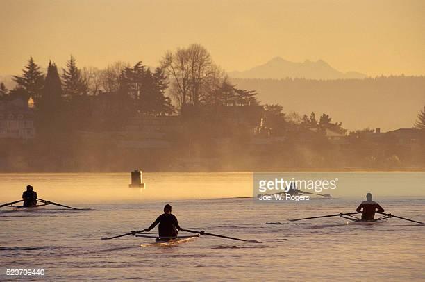Rowers on Lake Washington in Seattle