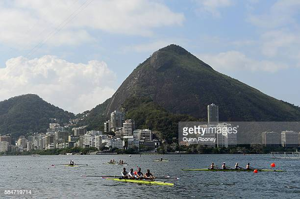 Rowers practice on Lagoa Rodrigo de Freitas the site of the Olympic rowing venue for the 2016 Summer Olympic Games on July 30 2016 in Rio de Janeiro...