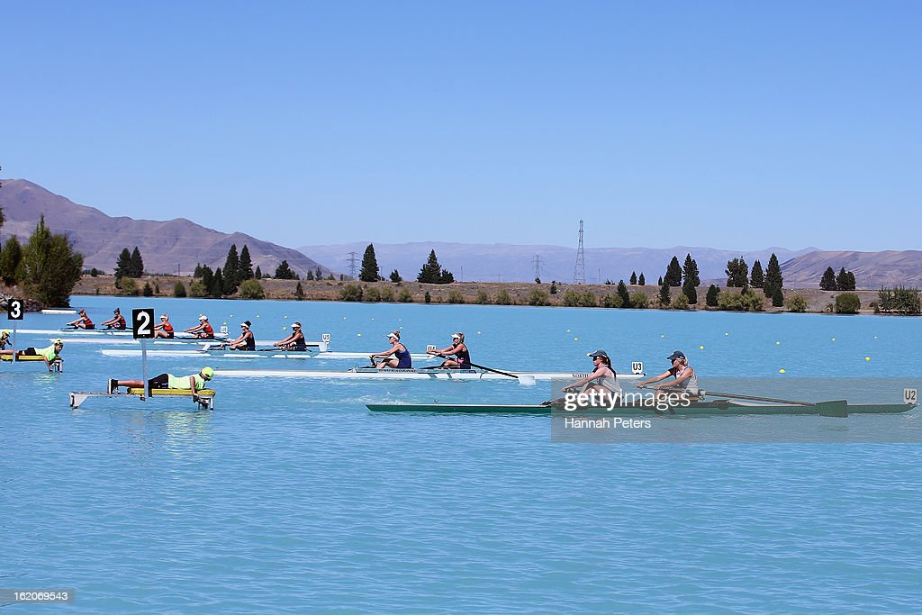 Rowers start their heat during the New Zealand Rowing Championships at Lake Ruataniwha on February 19, 2013 in Twizel, New Zealand.