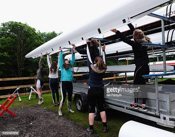 Rowers unload their boats as they prepare to take part in the 183rd annual regatta on the River Wear on June 11 2016 in Durham England The present...