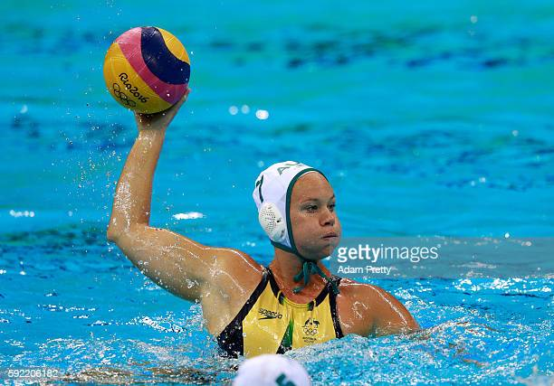 Rowie Webster of Australia during the Women's Water Polo 5th 6th Classification match between Australia and Spain on Day 14 of the Rio 2016 Olympic...