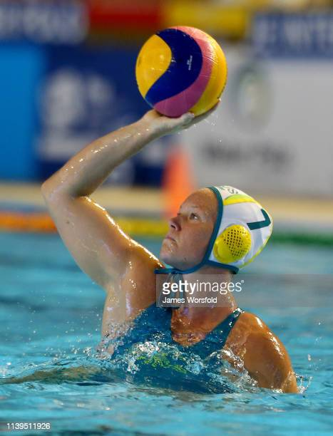 Rowie Webster of Australia passes the ball back to the middle during the 2019 FINA World League Inter-Continental Cup Woman's Gold medal match...