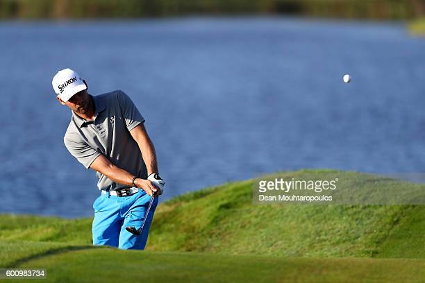 Rowin Caron of the Netherlands hits his third shot on the 3rd during the second round on day two of the KLM Open at The Dutch on September 9 2016 in...