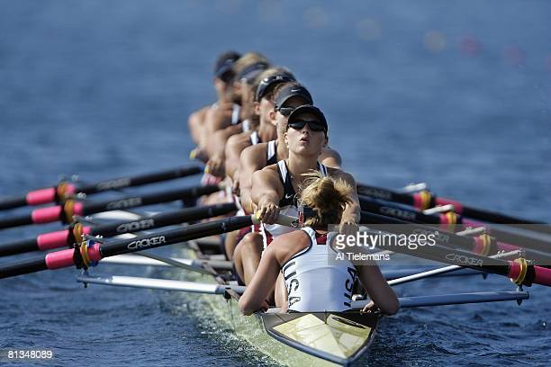 Rowing 2004 Summer Olympics USA crew team in action during competition at Schinias Athens GRC 8/15/2004