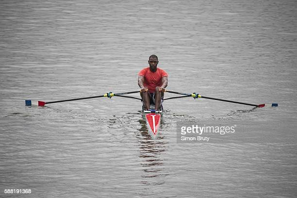 2016 Summer Olympics View of Cuba Angel Fournier Rodriguez during Men's Single Sculls Practice at Lagoa Rodrigo de Freitas Rio de Janeiro Brazil...