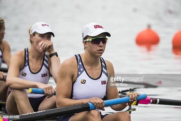 2016 Summer Olympics View of USA Amanda Elmore in boat before Women's Coxed Eight Heats at Lagoa Rodrigo de Freitas Rio de Janeiro Brazil 8/8/2016...