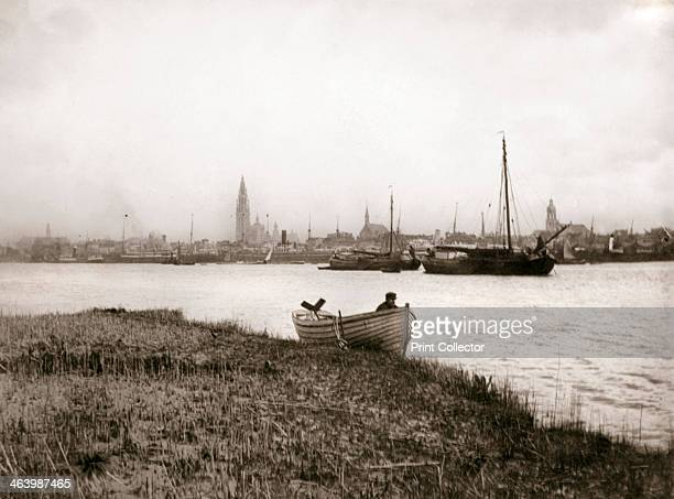 Rowing boat by a canal Rotterdam 1898 Illustration from a book of photographs taken in Holland and Belgium by James Batkin